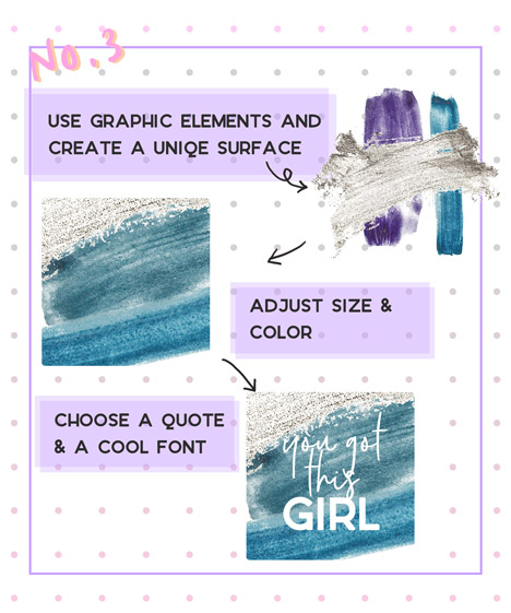 instagram quote design with graphic elements watercolor paint swatches