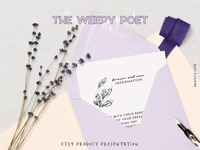 Etsy shop product presentation - the weepy poet - made with scene creator mockup