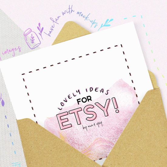 envelope and card - how to boost your etsy product presentation and layout by using mockup for your template and flatlay by ana & yvy