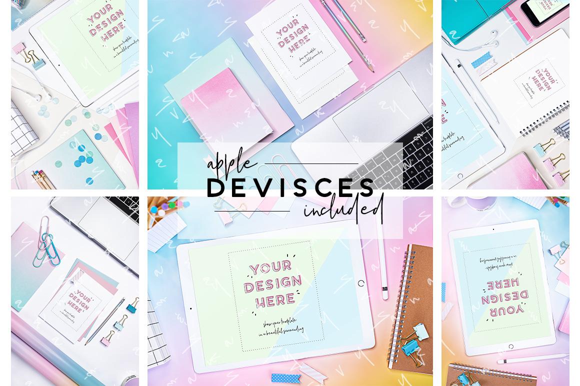 unicorn rainbow ombre gradient rose baby blue blush stationery work ipad pro flatlay mockup desk girly