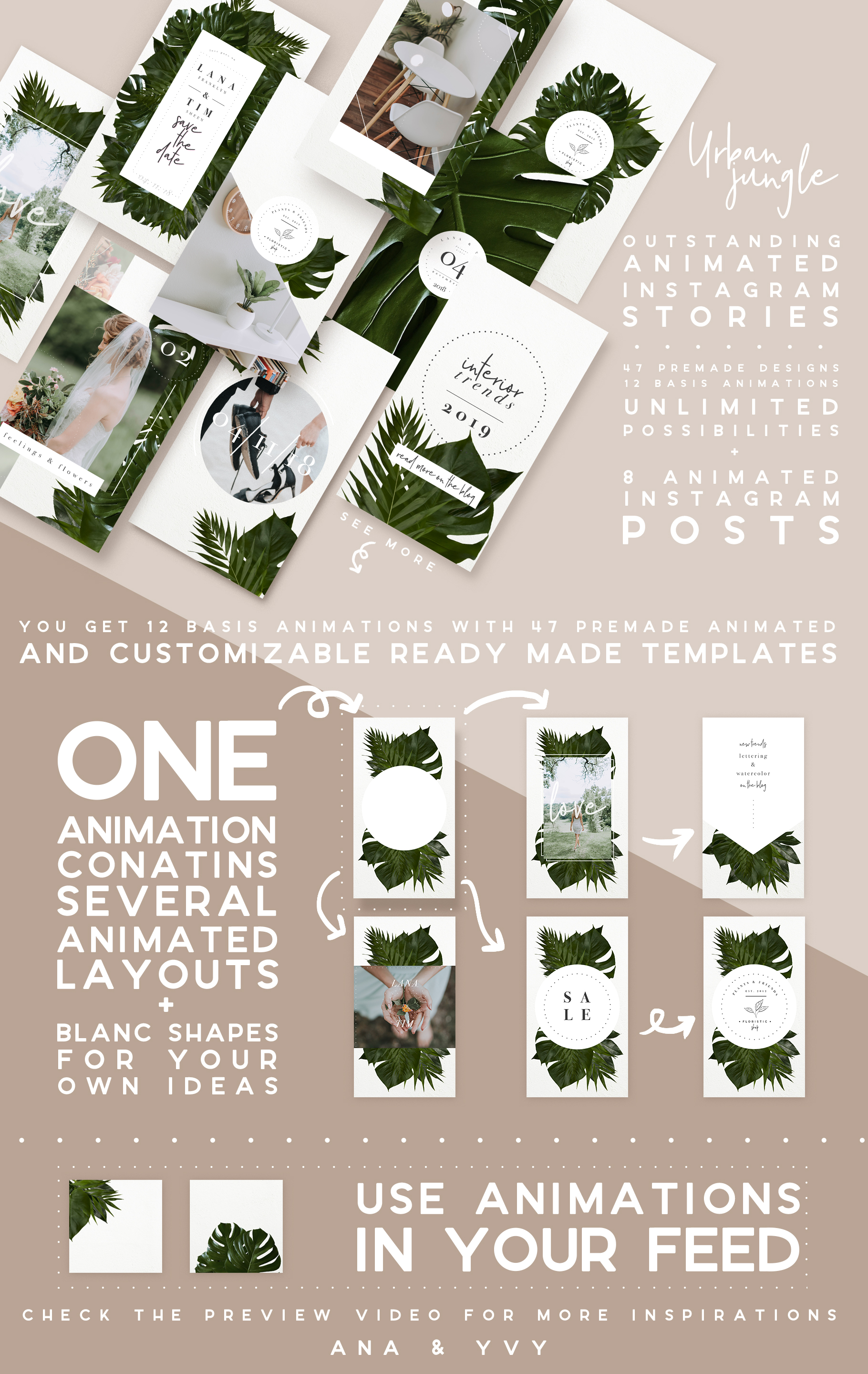 urban jungle instagram animated-post story stories greenery palm wedding template graphic business premade
