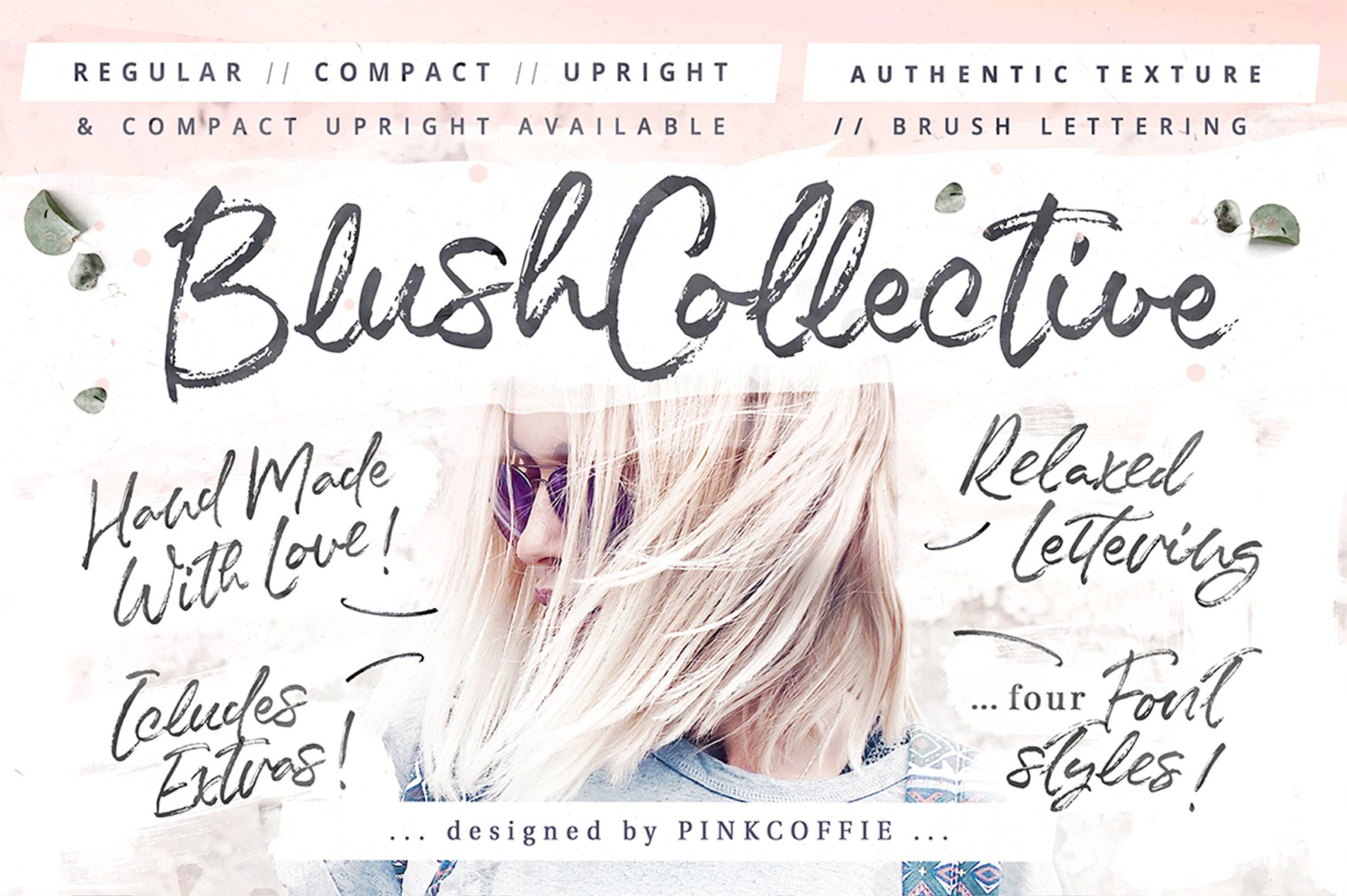 blush collective font pink coffie fonts pack preview lettering