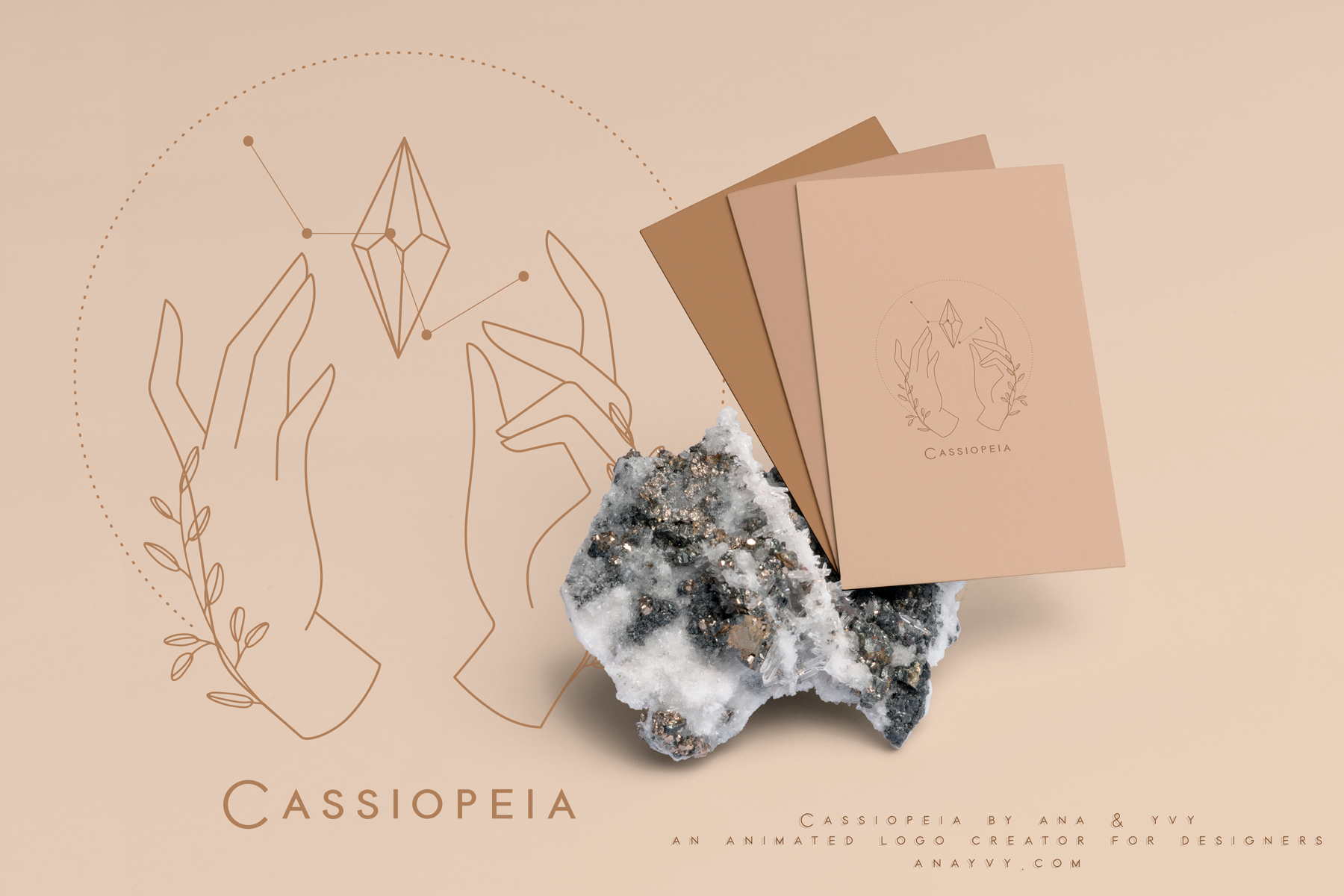 Cassiopeia-logo-design-animation-anayvy-motion-vintage-hand-greenery-apothecary-businesscards-2