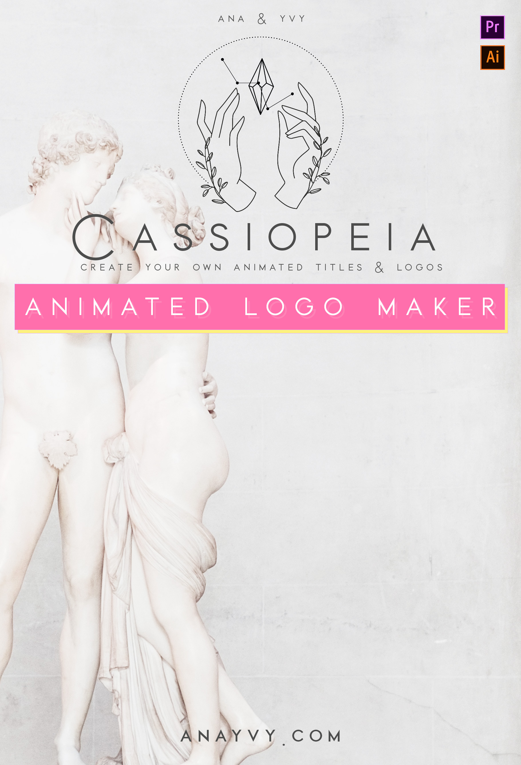 Cassiopeia logo design animation ana yvy motion vintage hand greenery apothecary